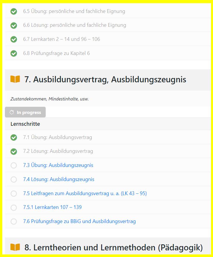 Lernfortschritts-Häkchen im AEVO-OnlineKurs (Basis-Modul)