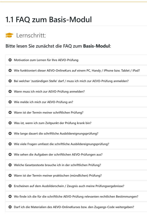 Übersicht zu den FAQ meines AEVO-OnlineKurses (Basis-Modul)